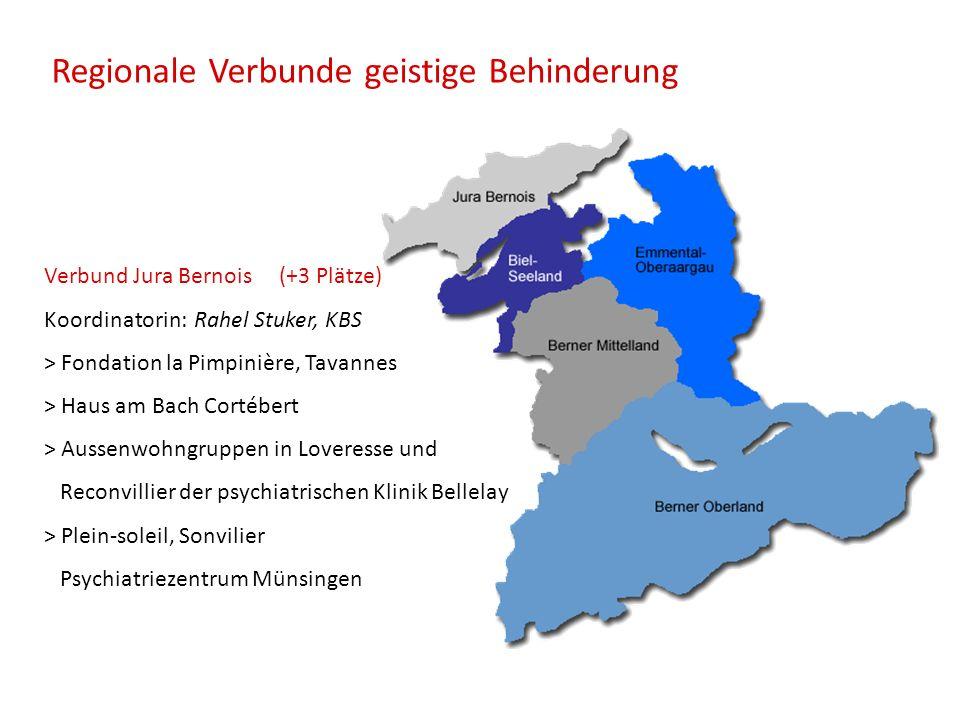 Regionale Verbunde geistige Behinderung Verbund Jura Bernois (+3 Plätze) Koordinatorin: Rahel Stuker, KBS > Fondation la Pimpinière, Tavannes > Haus a