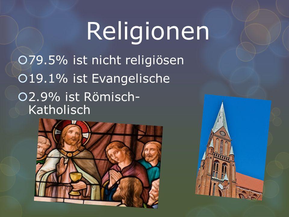 Religionen 79.5% ist nicht religiösen 19.1% ist Evangelische 2.9% ist Römisch- Katholisch