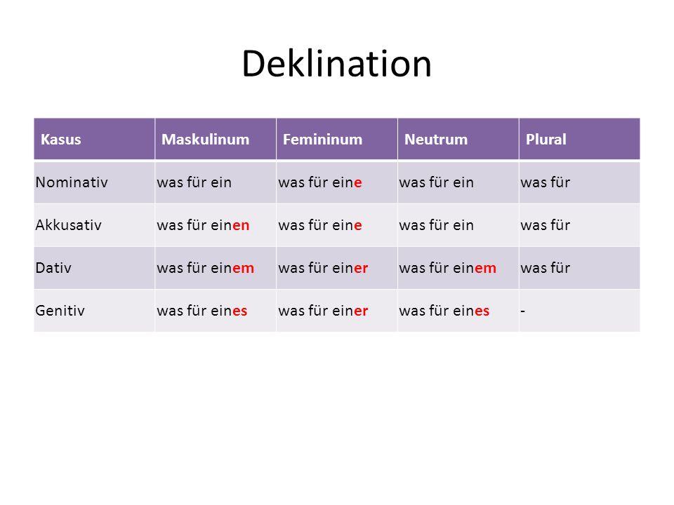 Deklination KasusMaskulinumFemininumNeutrumPlural Nominativwas für einwas für einewas für einwas für Akkusativwas für einenwas für einewas für einwas