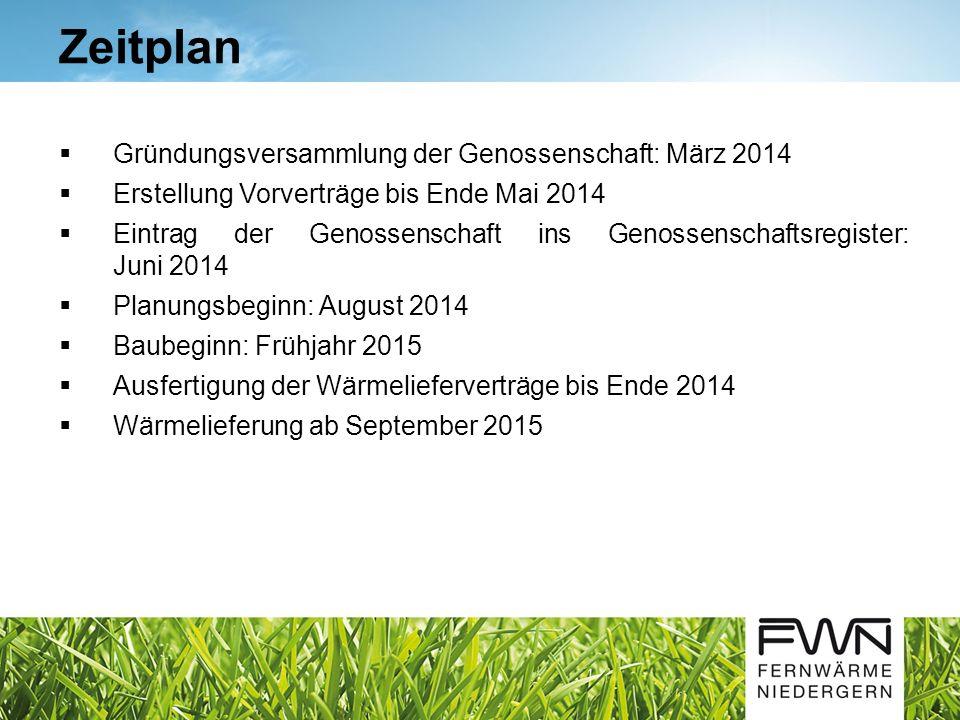 Gründungsversammlung der Genossenschaft: März 2014 Erstellung Vorverträge bis Ende Mai 2014 Eintrag der Genossenschaft ins Genossenschaftsregister: Ju