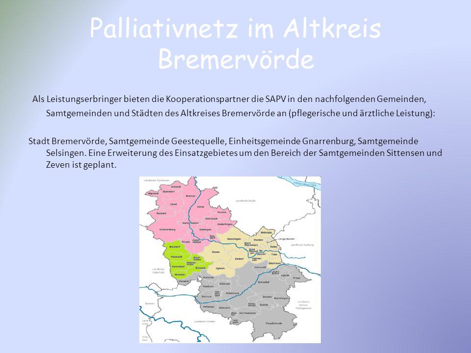 Palliativnetz im Altkreis Bremervörde Als Leistungserbringer bieten die Kooperationspartner die SAPV in den nachfolgenden Gemeinden, Samtgemeinden und