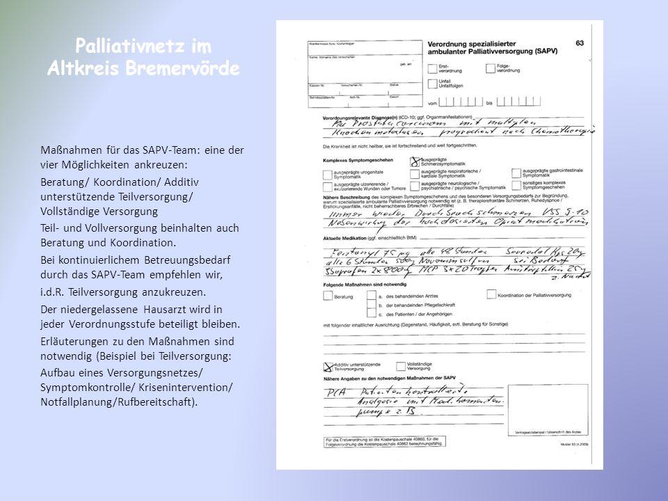 Palliativnetz im Altkreis Bremervörde Maßnahmen für das SAPV-Team: eine der vier Möglichkeiten ankreuzen: Beratung/ Koordination/ Additiv unterstützen