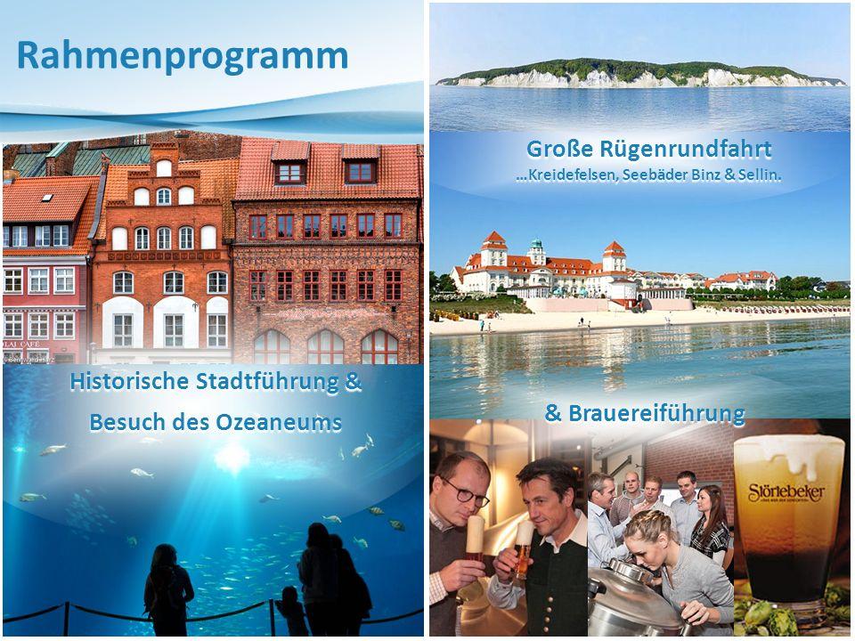 Historische Stadtführung & Besuch des Ozeaneums Rahmenprogramm Große Rügenrundfahrt …Kreidefelsen, Seebäder Binz & Sellin.