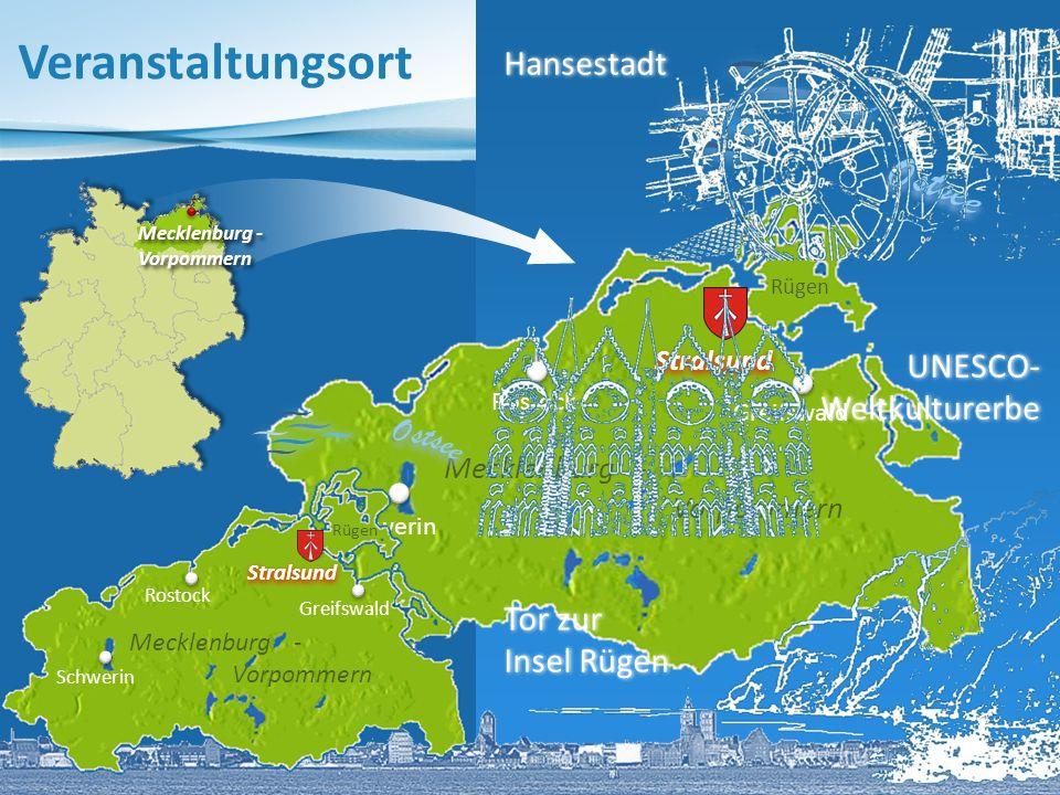 Mecklenburg - Vorpommern Tor zur Insel Rügen UNESCO-Weltkulturerbe Gorch Fock I Stadthafen Hafenpanorama mit Ozeaneum Hansestadt