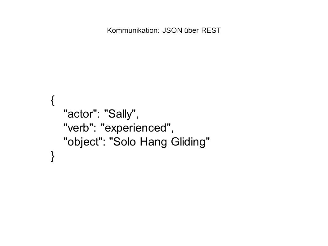 Kommunikation: JSON über REST { actor : Sally , verb : experienced , object : Solo Hang Gliding }