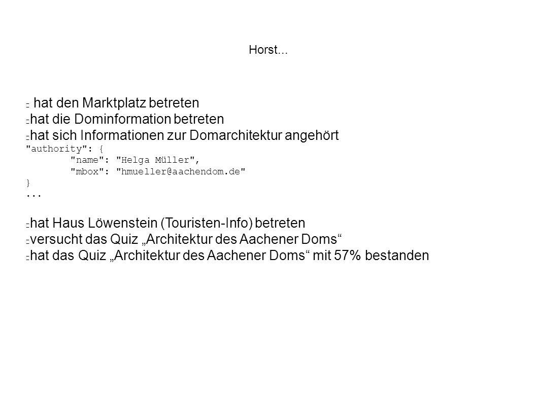 hat den Marktplatz betreten hat die Dominformation betreten hat sich Informationen zur Domarchitektur angehört authority : { name : Helga Müller , mbox : hmueller@aachendom.de }...