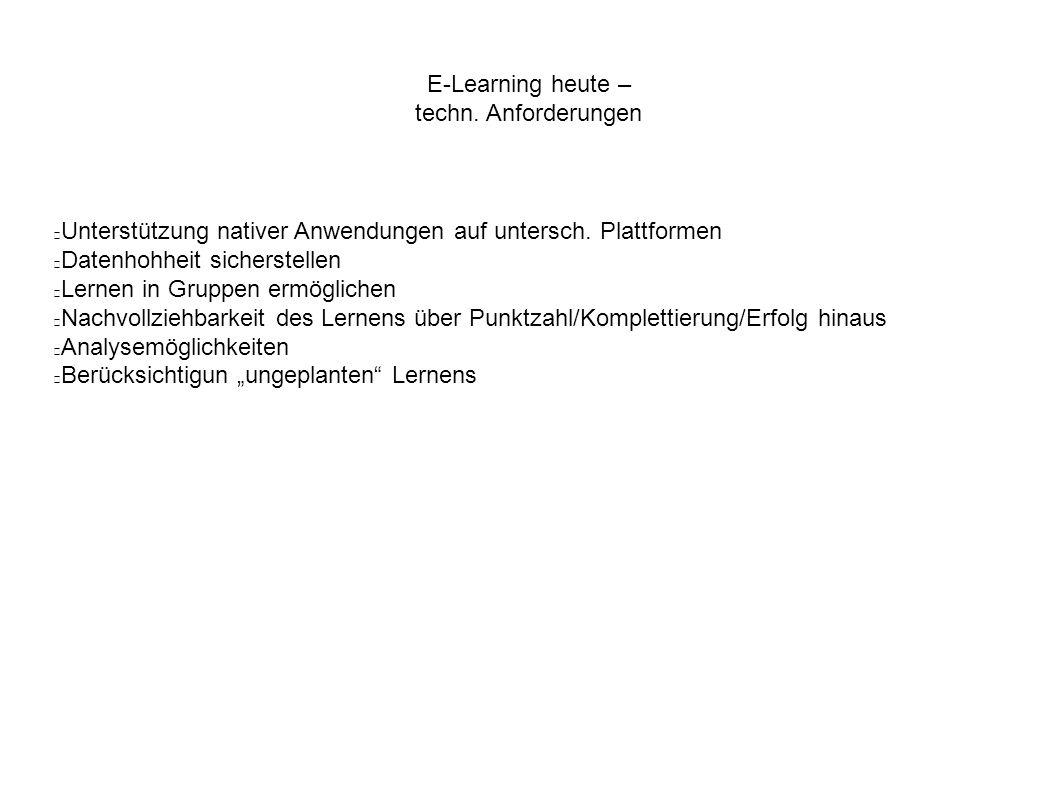 E-Learning heute – techn. Anforderungen Unterstützung nativer Anwendungen auf untersch. Plattformen Datenhohheit sicherstellen Lernen in Gruppen ermög