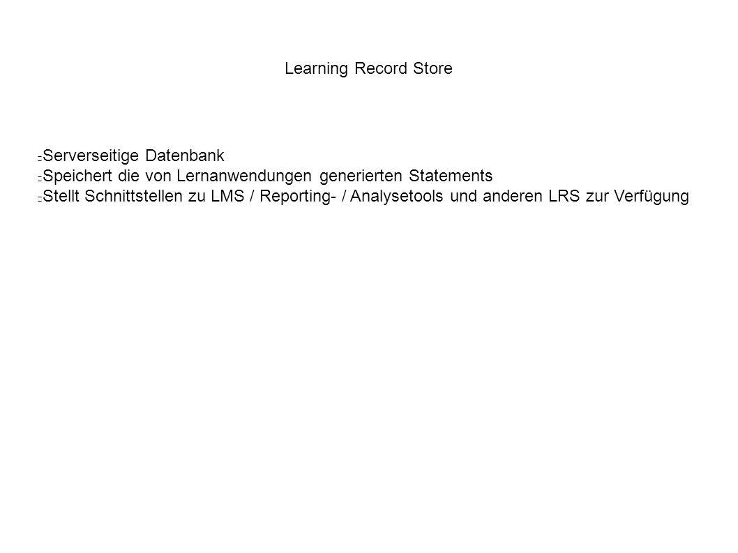 Learning Record Store Serverseitige Datenbank Speichert die von Lernanwendungen generierten Statements Stellt Schnittstellen zu LMS / Reporting- / Analysetools und anderen LRS zur Verfügung