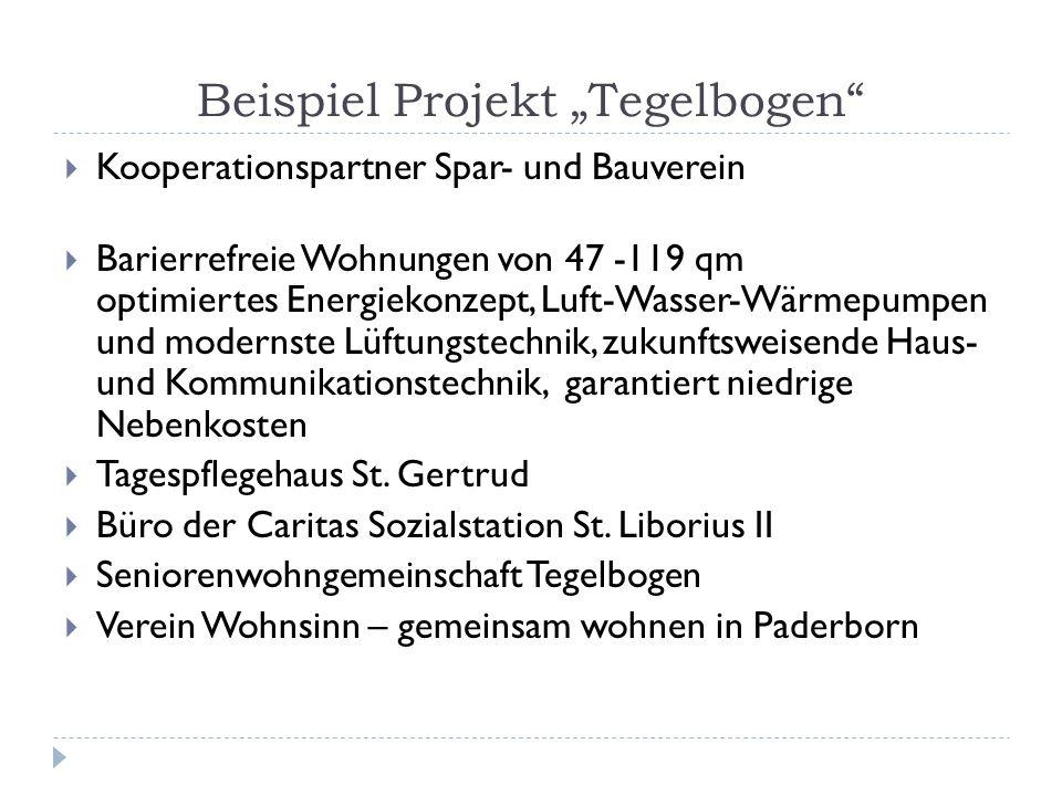 Beispiel Projekt Tegelbogen Kooperationspartner Spar- und Bauverein Barierrefreie Wohnungen von 47 -119 qm optimiertes Energiekonzept, Luft-Wasser-Wär