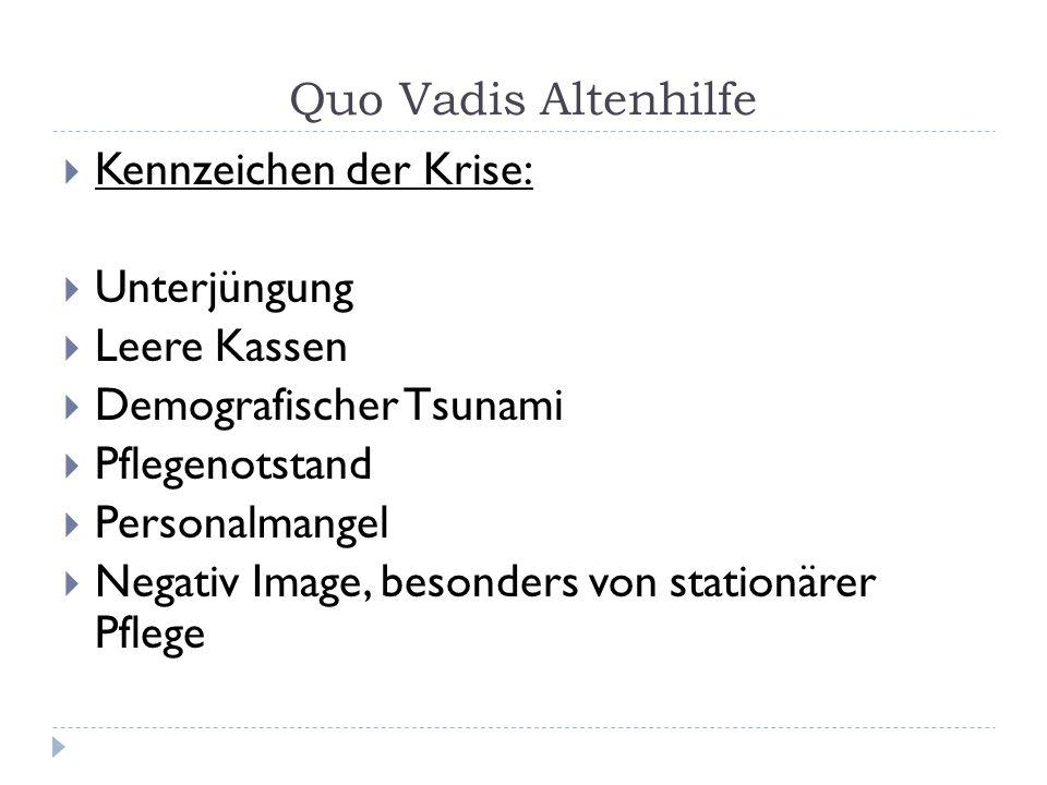 Kennzeichen der Krise: Unterjüngung Leere Kassen Demografischer Tsunami Pflegenotstand Personalmangel Negativ Image, besonders von stationärer Pflege