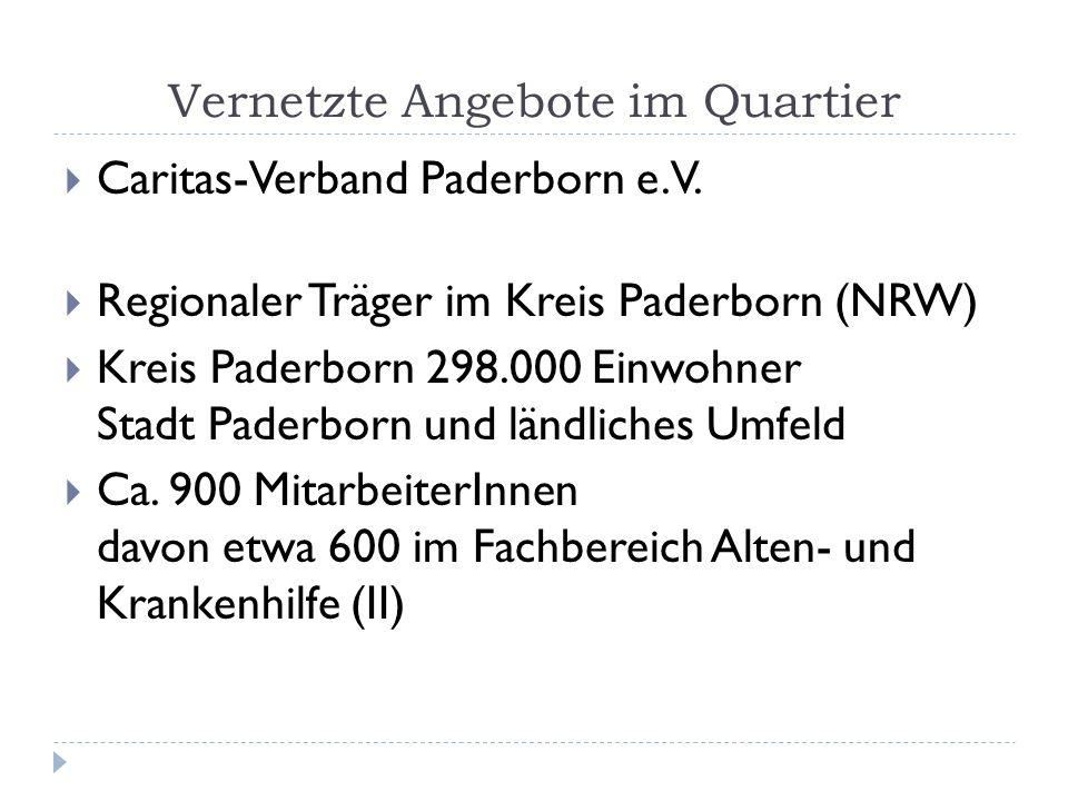 Vernetzte Angebote im Quartier Caritas-Verband Paderborn e.V. Regionaler Träger im Kreis Paderborn (NRW) Kreis Paderborn 298.000 Einwohner Stadt Pader