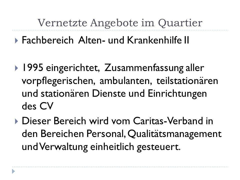 Vernetzte Angebote im Quartier Fachbereich Alten- und Krankenhilfe II 1995 eingerichtet, Zusammenfassung aller vorpflegerischen, ambulanten, teilstati