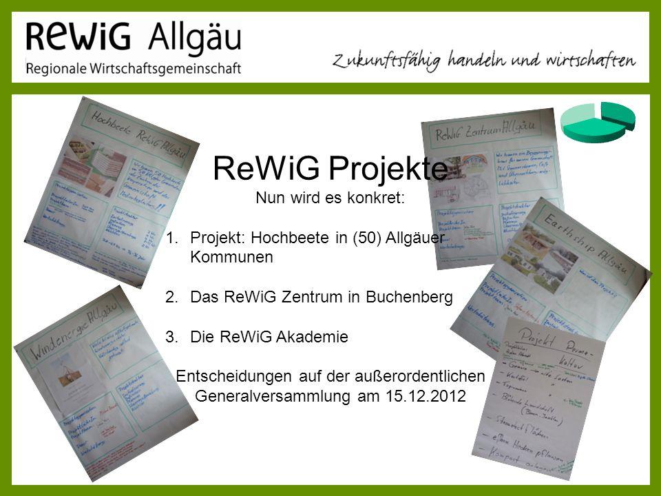 ReWiG Projekte Nun wird es konkret: 1.Projekt: Hochbeete in (50) Allgäuer Kommunen 2.Das ReWiG Zentrum in Buchenberg 3.Die ReWiG Akademie Entscheidung