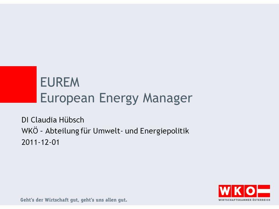 EUREM European Energy Manager DI Claudia Hübsch WKÖ – Abteilung für Umwelt- und Energiepolitik 2011-12-01