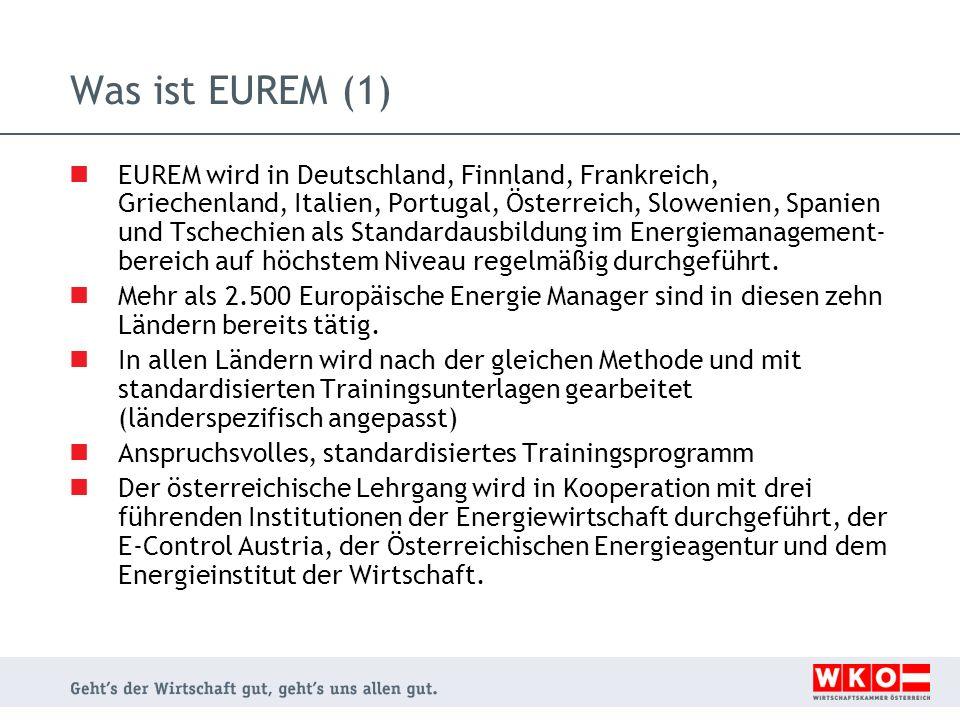 Was ist EUREM (2) Europäische EnergieManager erhalten grundlegende Kenntnisse in allen relevanten Energiethemen didaktisches Know-how, um Energieeffizienzprojekte mit beachtlichen Einsparungen in der Praxis zu realisieren erfolgreiches Netzwerk - in dreizehn EU-Ländern eingeführt 1741 Europäische EnergyManager aus 134 EUREM Lehrgängen in Europa - 350 TN derzeit in Ausbildung (Stand 12/2010) Interesse von vielen Nicht-EU-Ländern - internationale Verbreitung der registrierten Marke EUREM China hat 2010 als erstes nicht europäisches Land EUREM- Lehrgänge durchgeführt (Regionen Shenzhen, Changping/Beijing)