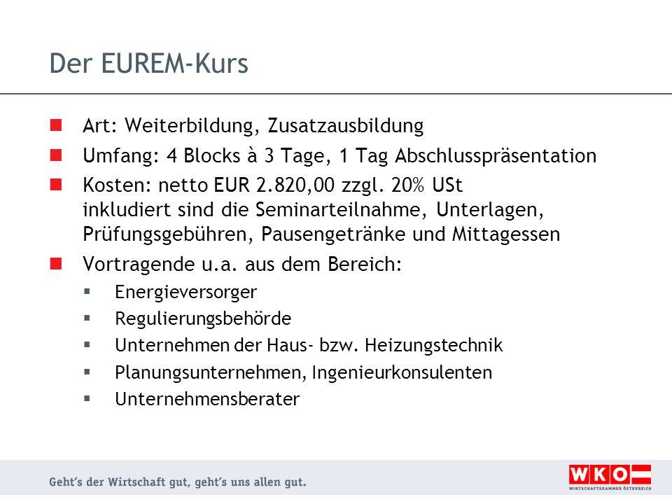 Der EUREM-Kurs Art: Weiterbildung, Zusatzausbildung Umfang: 4 Blocks à 3 Tage, 1 Tag Abschlusspräsentation Kosten: netto EUR 2.820,00 zzgl.