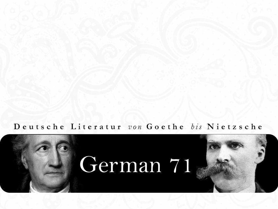 German 71 Deutsche Literatur von Goethe bis Nietzsche