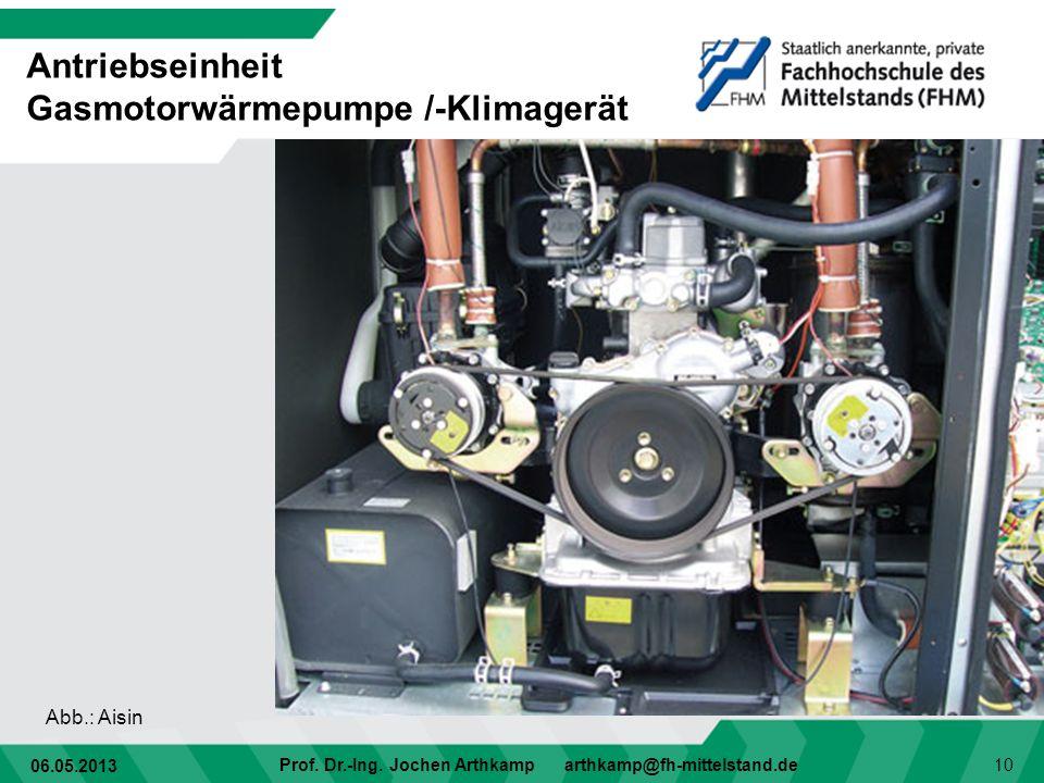 06.05.2013 Prof. Dr.-Ing. Jochen Arthkamp arthkamp@fh-mittelstand.de 10 Antriebseinheit Gasmotorwärmepumpe /-Klimagerät Abb.: Aisin