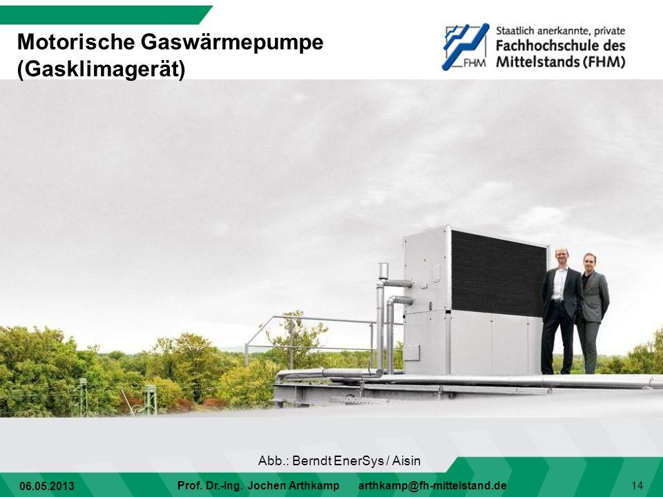 06.05.2013 Prof. Dr.-Ing. Jochen Arthkamp arthkamp@fh-mittelstand.de 14 Motorische Gaswärmepumpe (Gasklimagerät) Abb.: Berndt EnerSys / Aisin