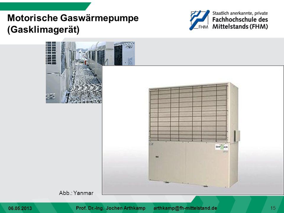 06.05.2013 Prof. Dr.-Ing. Jochen Arthkamp arthkamp@fh-mittelstand.de 15 Motorische Gaswärmepumpe (Gasklimagerät) Abb.: Yanmar