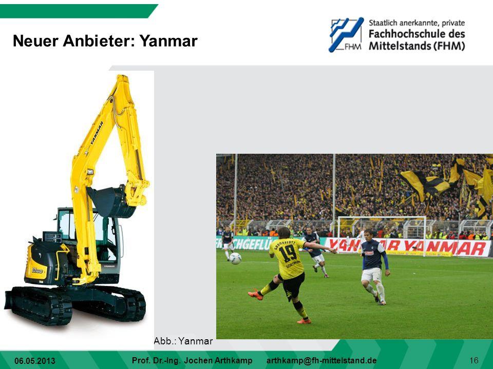 06.05.2013 Prof. Dr.-Ing. Jochen Arthkamp arthkamp@fh-mittelstand.de 16 Neuer Anbieter: Yanmar Abb.: Yanmar