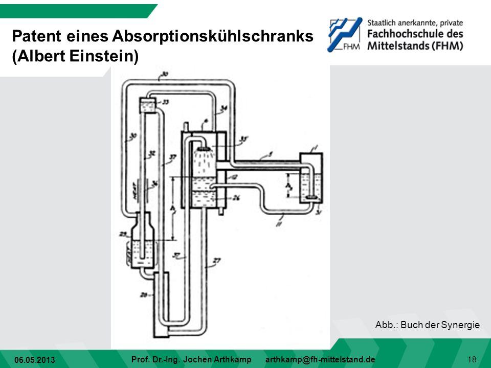 06.05.2013 Prof. Dr.-Ing. Jochen Arthkamp arthkamp@fh-mittelstand.de 18 Patent eines Absorptionskühlschranks (Albert Einstein) Abb.: Buch der Synergie
