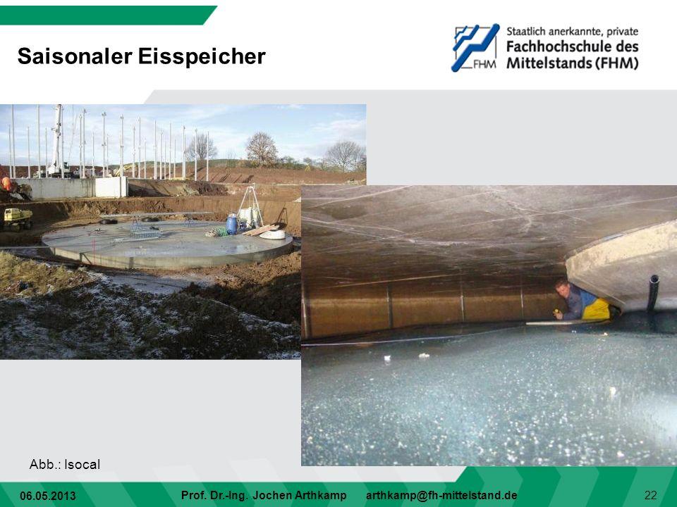 06.05.2013 Prof. Dr.-Ing. Jochen Arthkamp arthkamp@fh-mittelstand.de 22 Saisonaler Eisspeicher Abb.: Isocal