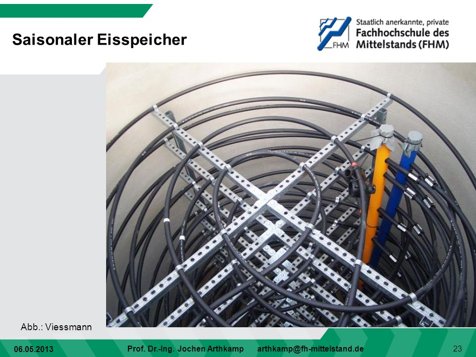 06.05.2013 Prof. Dr.-Ing. Jochen Arthkamp arthkamp@fh-mittelstand.de 23 Saisonaler Eisspeicher Abb.: Viessmann