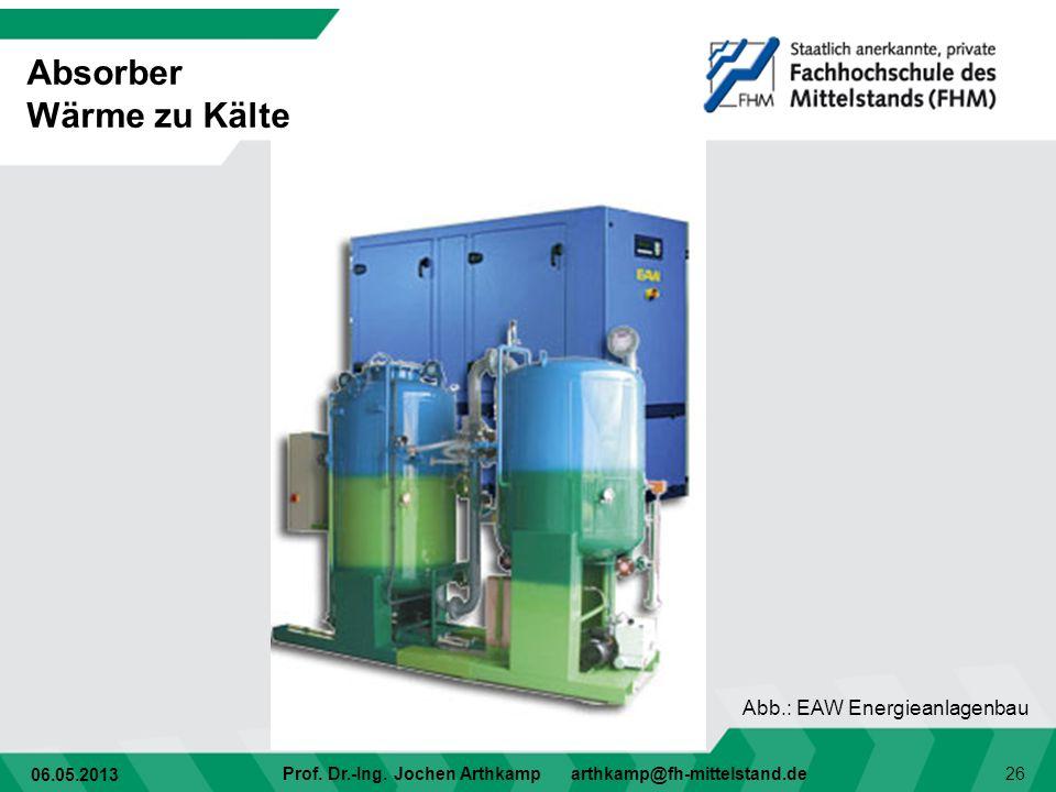 06.05.2013 Prof. Dr.-Ing. Jochen Arthkamp arthkamp@fh-mittelstand.de 26 Absorber Wärme zu Kälte Abb.: EAW Energieanlagenbau