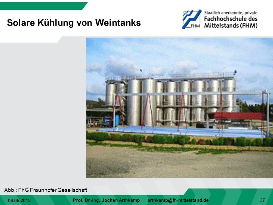 06.05.2013 Prof. Dr.-Ing. Jochen Arthkamp arthkamp@fh-mittelstand.de 37 Solare Kühlung von Weintanks Abb.: FhG Fraunhofer Gesellschaft