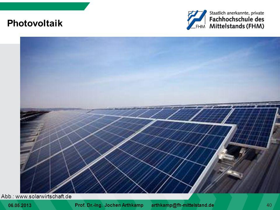 06.05.2013 Prof. Dr.-Ing. Jochen Arthkamp arthkamp@fh-mittelstand.de 40 Photovoltaik Abb.: www.solarwirtschaft.de