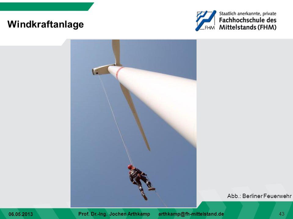06.05.2013 Prof. Dr.-Ing. Jochen Arthkamp arthkamp@fh-mittelstand.de 43 Windkraftanlage Abb.: Berliner Feuerwehr