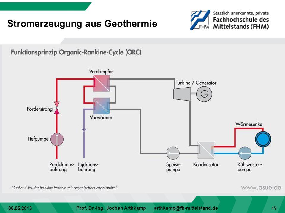 06.05.2013 Prof. Dr.-Ing. Jochen Arthkamp arthkamp@fh-mittelstand.de 49 Stromerzeugung aus Geothermie