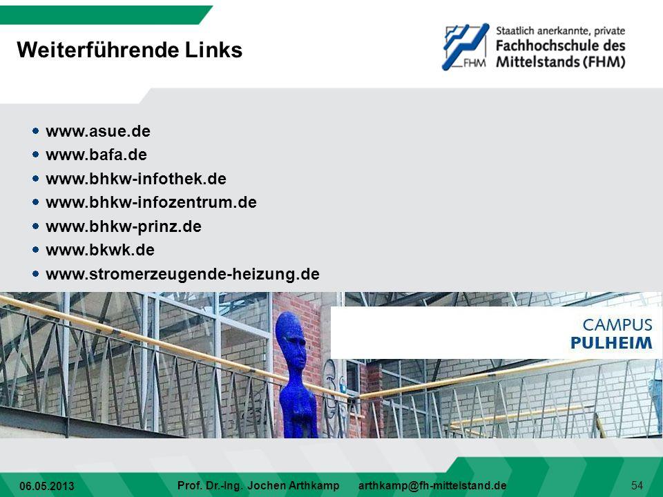 06.05.2013 Prof. Dr.-Ing. Jochen Arthkamp arthkamp@fh-mittelstand.de 54 Weiterführende Links www.asue.de www.bafa.de www.bhkw-infothek.de www.bhkw-inf