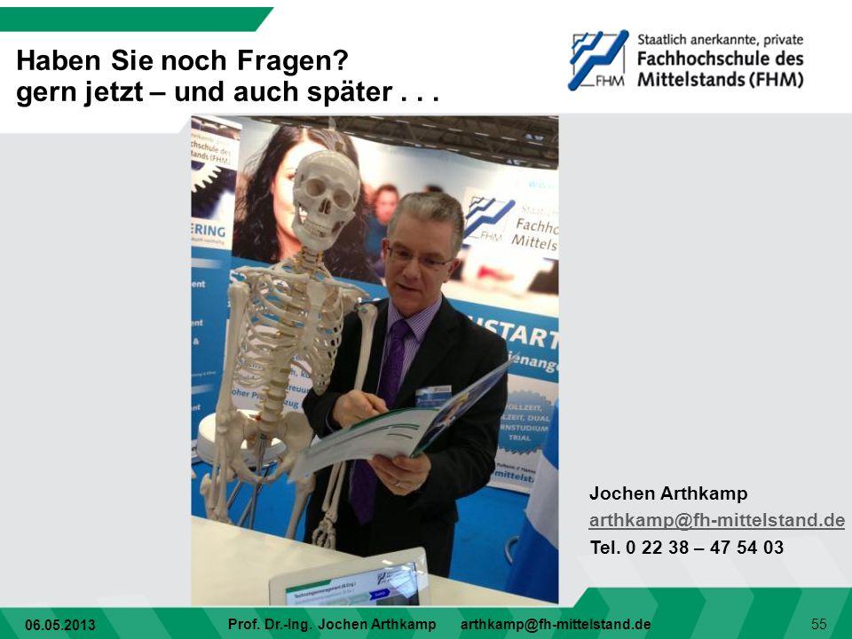 06.05.2013 Prof. Dr.-Ing. Jochen Arthkamp arthkamp@fh-mittelstand.de 55 Haben Sie noch Fragen? gern jetzt – und auch später... Jochen Arthkamp arthkam