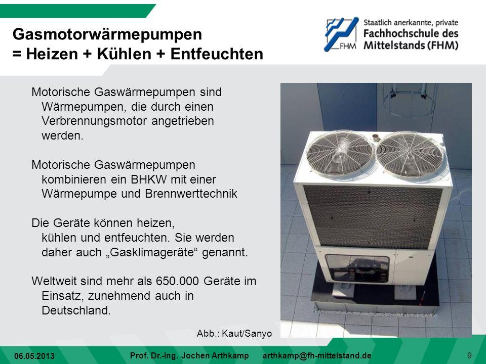 06.05.2013 Prof. Dr.-Ing. Jochen Arthkamp arthkamp@fh-mittelstand.de 9 Motorische Gaswärmepumpen sind Wärmepumpen, die durch einen Verbrennungsmotor a