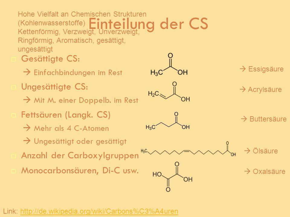 Einteilung der CS Gesättigte CS: Einfachbindungen im Rest Ungesättigte CS: Mit M. einer Doppelb. im Rest Fettsäuren (Langk. CS) Mehr als 4 C-Atomen Un