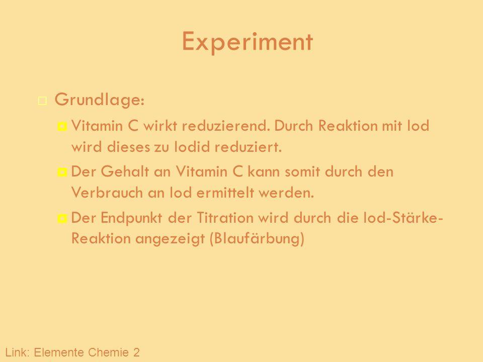 Experiment Grundlage: Vitamin C wirkt reduzierend. Durch Reaktion mit Iod wird dieses zu Iodid reduziert. Der Gehalt an Vitamin C kann somit durch den