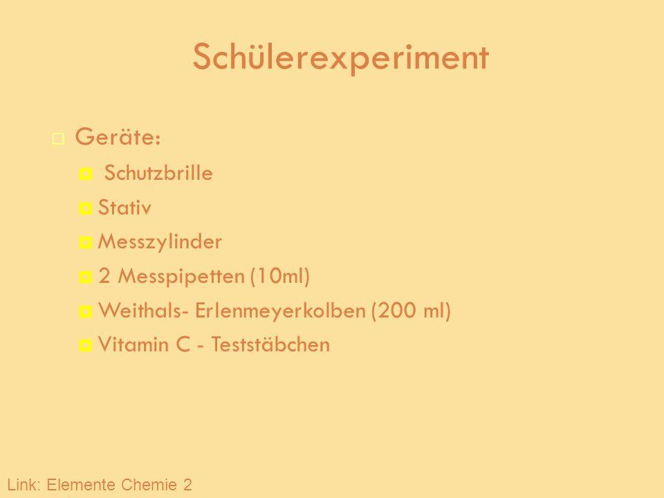 Schülerexperiment Geräte: Schutzbrille Stativ Messzylinder 2 Messpipetten (10ml) Weithals- Erlenmeyerkolben (200 ml) Vitamin C - Teststäbchen Link: El