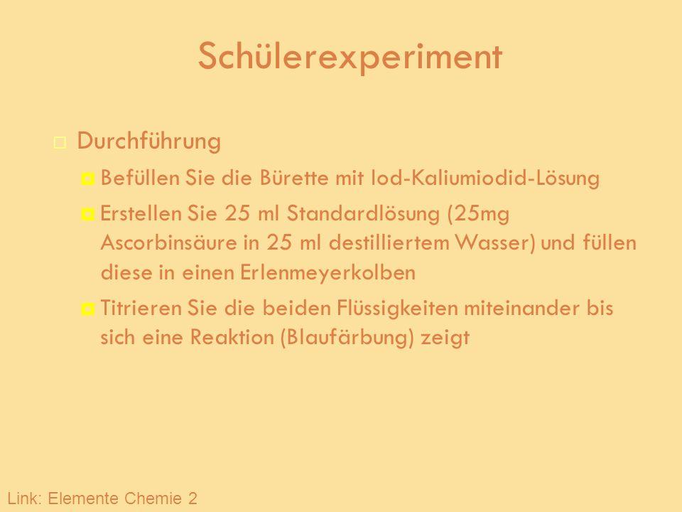 Schülerexperiment Durchführung Befüllen Sie die Bürette mit Iod-Kaliumiodid-Lösung Erstellen Sie 25 ml Standardlösung (25mg Ascorbinsäure in 25 ml des