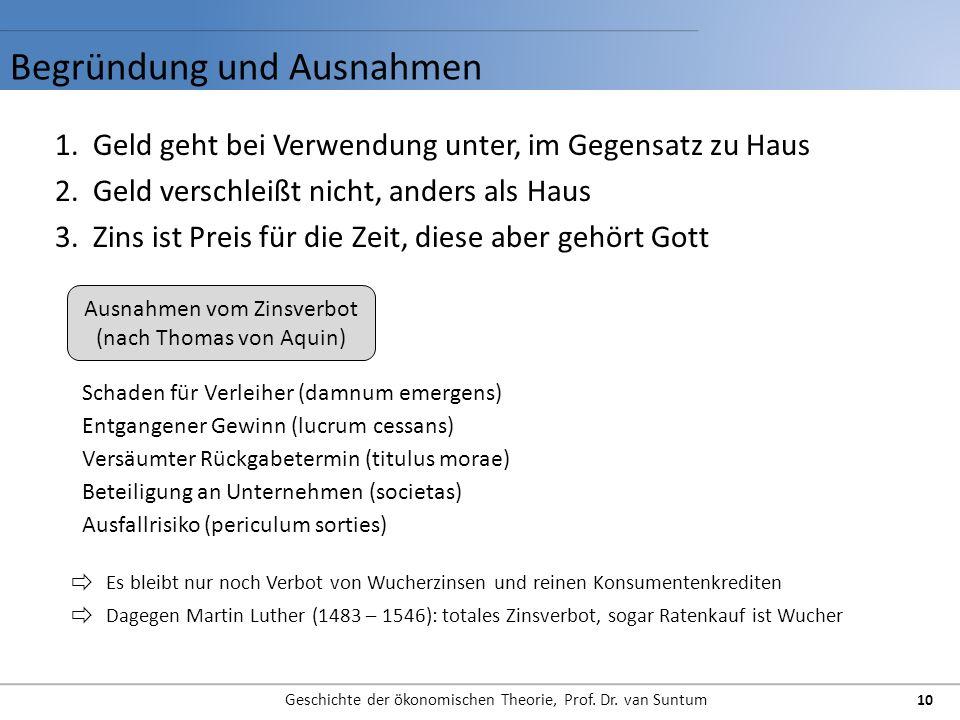 Begründung und Ausnahmen Geschichte der ökonomischen Theorie, Prof. Dr. van Suntum 10 1.Geld geht bei Verwendung unter, im Gegensatz zu Haus 2.Geld ve