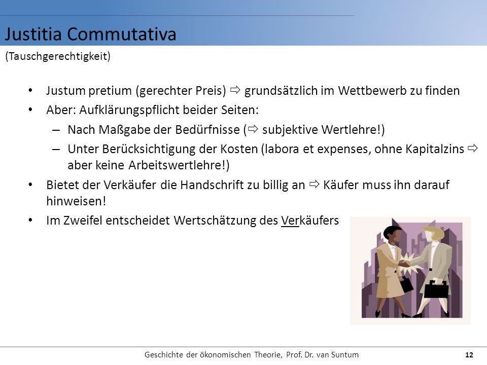 Justitia Commutativa Geschichte der ökonomischen Theorie, Prof. Dr. van Suntum 12 Justum pretium (gerechter Preis) grundsätzlich im Wettbewerb zu find