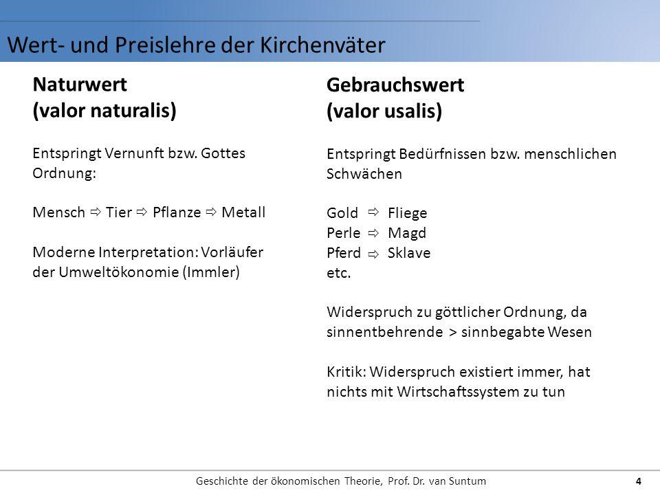 Wert- und Preislehre der Kirchenväter Geschichte der ökonomischen Theorie, Prof. Dr. van Suntum 4 Naturwert (valor naturalis) Entspringt Vernunft bzw.