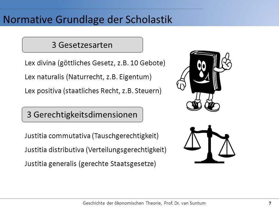 Normative Grundlage der Scholastik Geschichte der ökonomischen Theorie, Prof. Dr. van Suntum 7 3 Gesetzesarten 3 Gerechtigkeitsdimensionen Lex divina