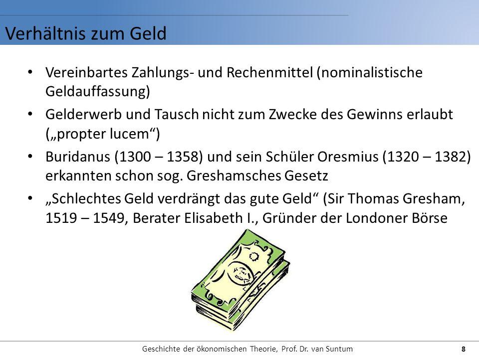Verhältnis zum Geld Geschichte der ökonomischen Theorie, Prof. Dr. van Suntum 8 Vereinbartes Zahlungs- und Rechenmittel (nominalistische Geldauffassun