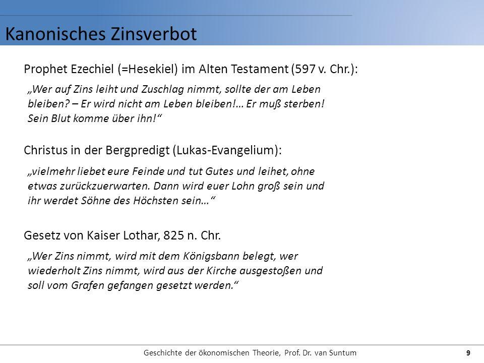 Kanonisches Zinsverbot Geschichte der ökonomischen Theorie, Prof. Dr. van Suntum 9 Prophet Ezechiel (=Hesekiel) im Alten Testament (597 v. Chr.): Wer