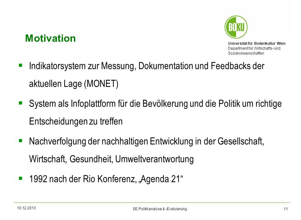 Universität für Bodenkultur Wien Department für Wirtschafts- und Sozialwissenschaften SE Politikanalyse & -Evaluierung Motivation Indikatorsystem zur