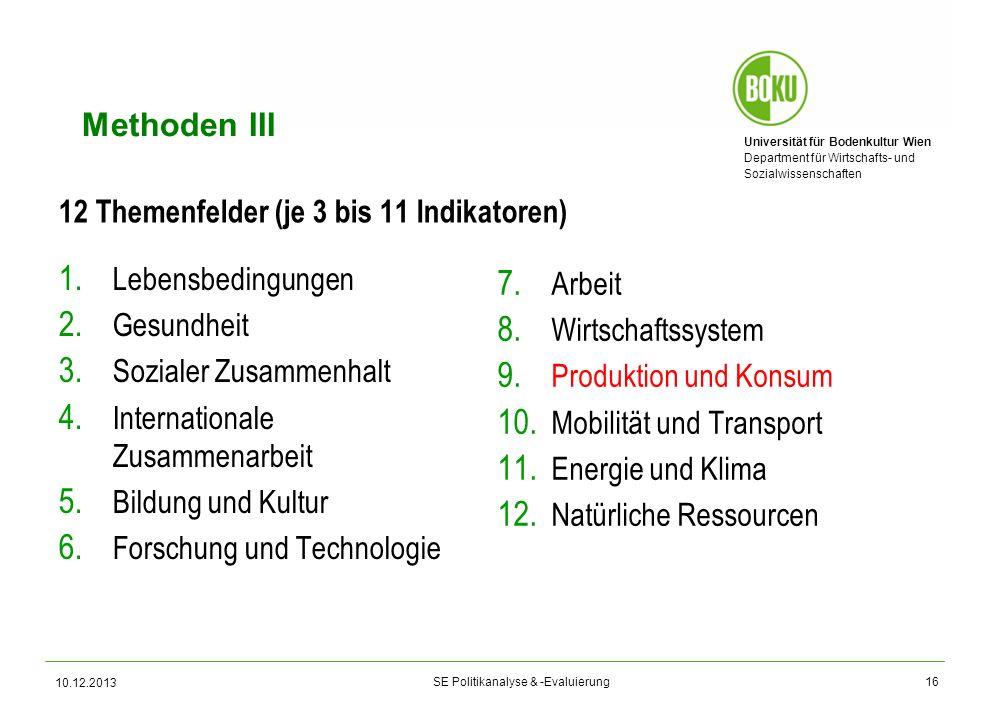 Universität für Bodenkultur Wien Department für Wirtschafts- und Sozialwissenschaften SE Politikanalyse & -Evaluierung Methoden III 12 Themenfelder (j