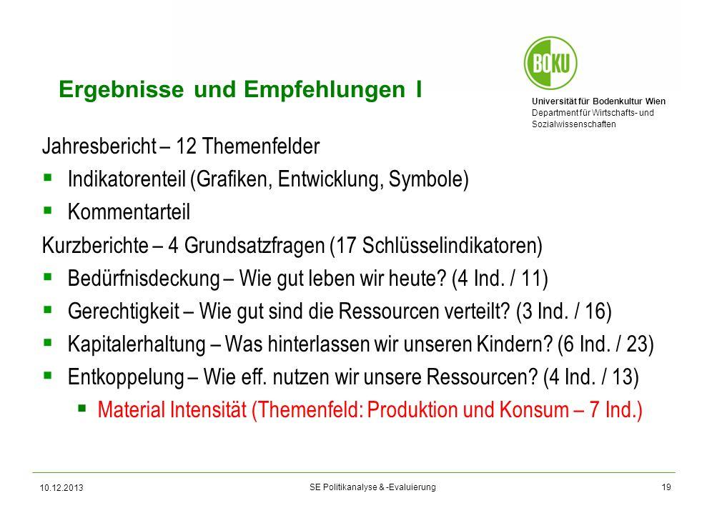 Universität für Bodenkultur Wien Department für Wirtschafts- und Sozialwissenschaften SE Politikanalyse & -Evaluierung Ergebnisse und Empfehlungen I J