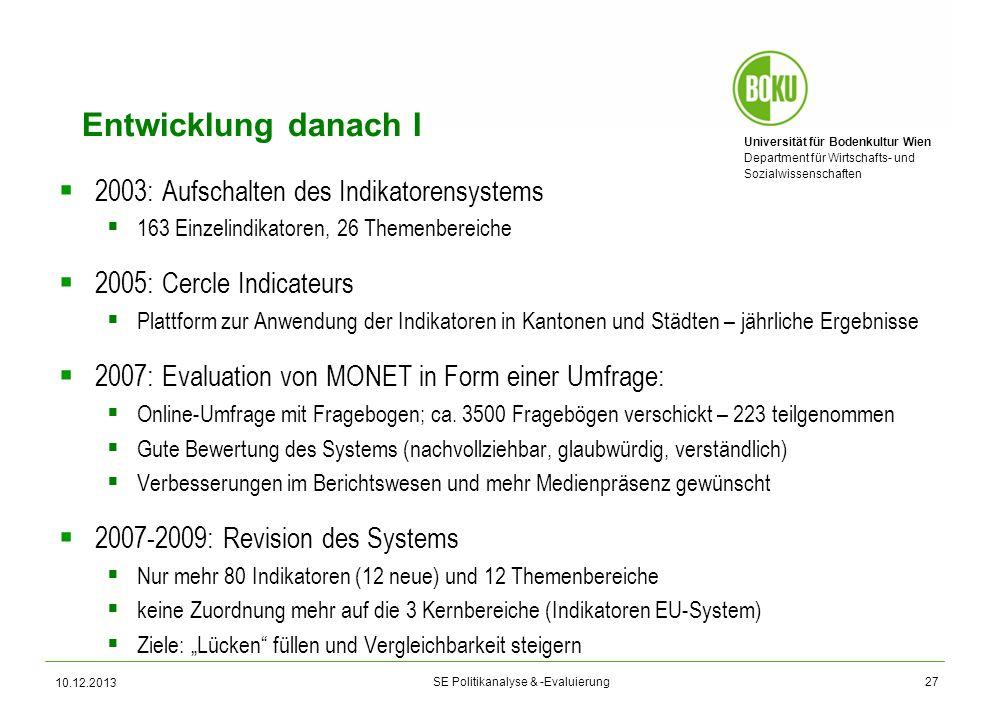 Universität für Bodenkultur Wien Department für Wirtschafts- und Sozialwissenschaften SE Politikanalyse & -Evaluierung Entwicklung danach I 2003: Aufs
